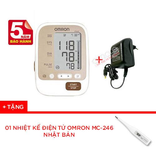 Combo máy đo huyết áp bắp tay JPN600 + Bộ đổi điện Adapter chính hãng Omron Nhật