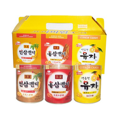 Hộp Kẹo Sâm Hàn Quốc 3 Vị Nhân Sâm, Hồng Sâm, Cam Thảo