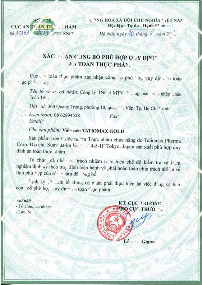 giấy chứng nhận tatiomax chính hãng
