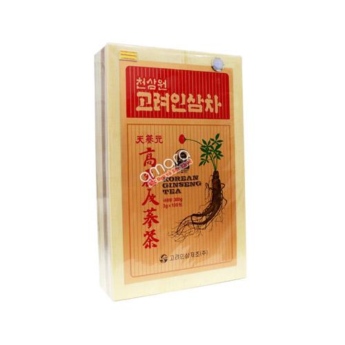 Trà sâm Hàn Quốc – Korean Ginseng Tea hộp gỗ 300g (100 gói x 3g)