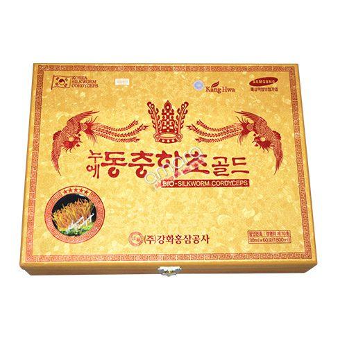 Nước Đông Trùng Hạ Thảo Nhân Sâm Hàn Quốc KangHwa hộp gỗ cao cấp 60 gói x 30ml