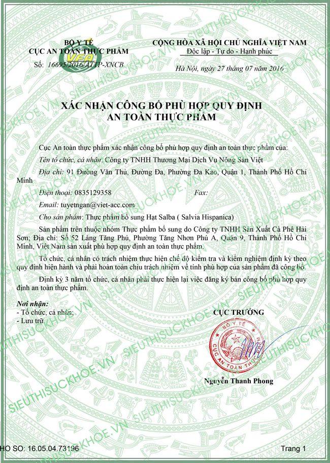 giấy chứng nhận hạt salba